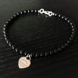 Tiffany & Co Black Onyx Bead Heart Bracelet 7.5in
